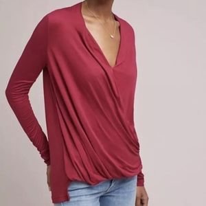 Anthropologie Akemi + Kin Red Wrap Long Sleeve Top